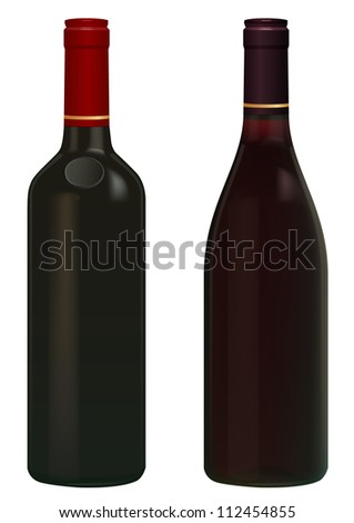 Red Wine bottles isolated in white without  label.