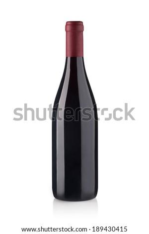 red wine bottles isolated on white background - stock photo