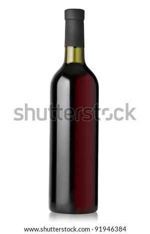 red wine bottles on white background