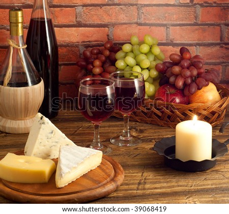 Red wine, cheese and fruit
