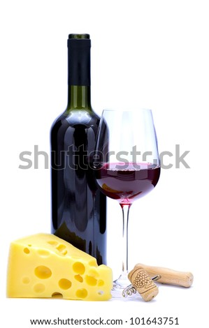 red wine, cheese, cork and corkscrew isolated on a white background
