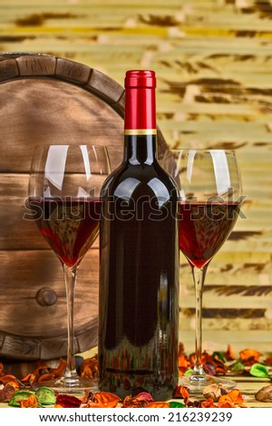 Red wine, closeup, in the classic style