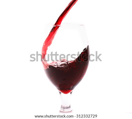 Red wine flowing from bottle to wineglass on white background