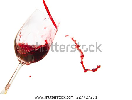 Red Wine glass and Bottle isolated on white background. - stock photo
