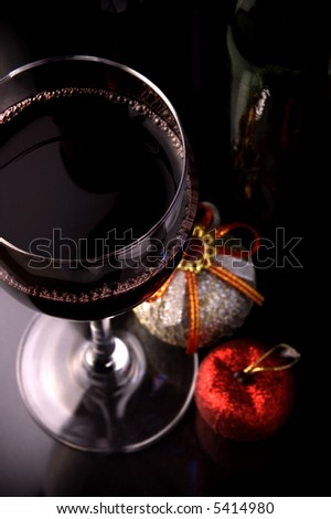 red wine glass and bottles details christmas toys decoration - stock photo