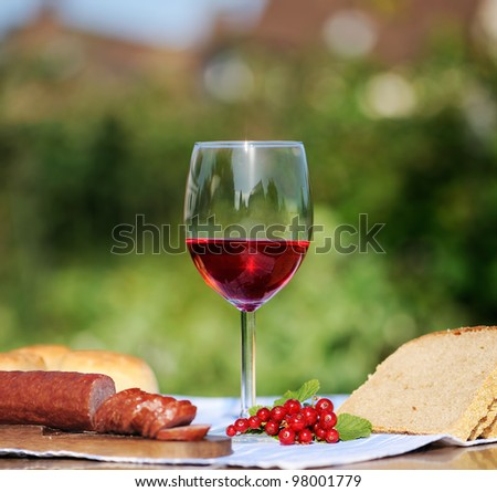 Red wine glass and bunch of grapes and young vine against natural spring background - stock photo