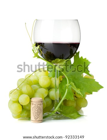 Red wine glass and grapes. Isolated on white background - stock photo