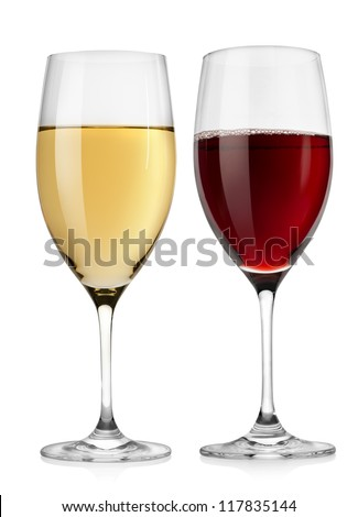 Red wine glass and white wine glass  isolated on a white background
