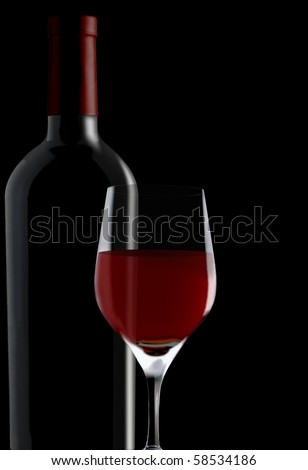 red wine glass & bottle