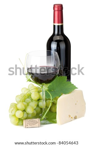 Red wine glass, bottle, cheese and grapes. Isolated on white background - stock photo