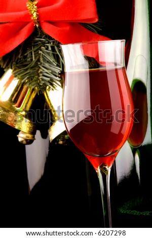 red wine glass bottle Christmas bells - stock photo