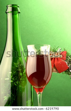 red wine glass bottle  Christmas decoration - stock photo