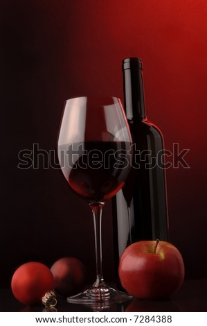 red wine glass bottle christmas tree`s decoration apple