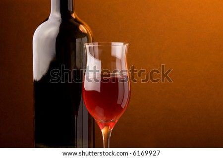 red wine glass  bottle details - stock photo