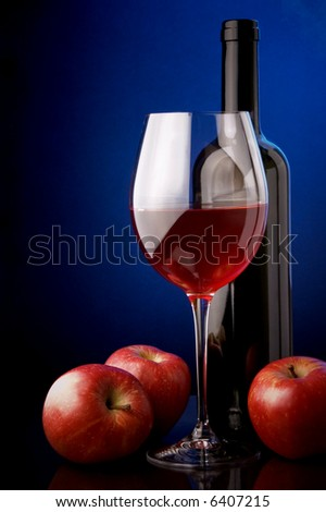 red  wine glass bottle details apples - stock photo