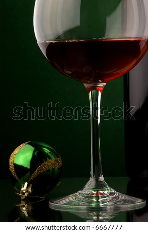 red wine glass bottle details Christmas decoration - stock photo