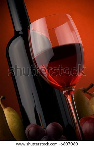 red wine glass bottle details pear apple - stock photo