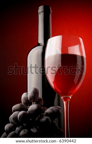 red wine glass bottle grape - stock photo