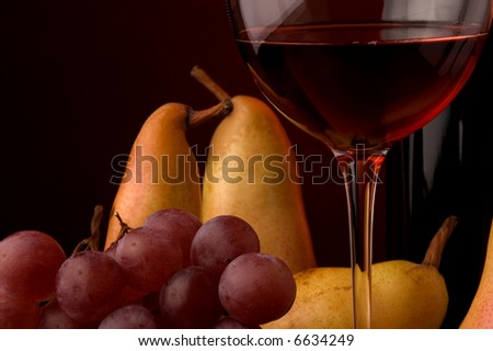 red wine glass bottle grape pear - stock photo