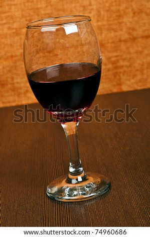 Red wine glass close up