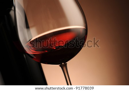 red wine glass close up, food photo - stock photo