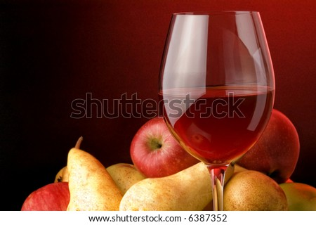 red wine glass fruits apple pear - stock photo