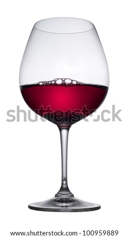Red wine glass, isolated - stock photo