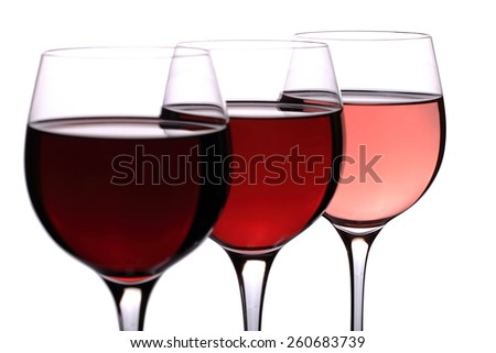 Red wine glass. Isolated on white background.