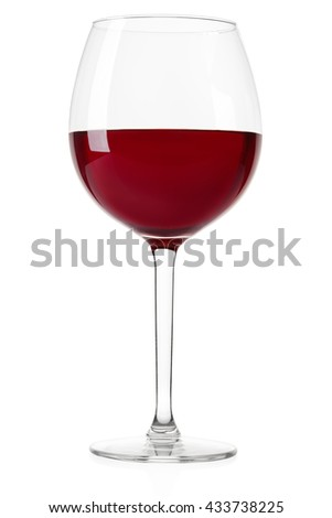 Red wine glass isolated on white, clipping path included