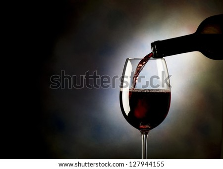 red wine glass on background - stock photo