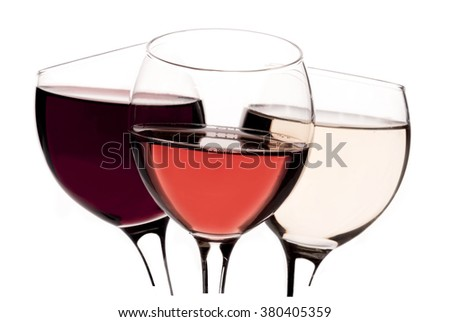 Red wine glass, rose wine glass, white wine glass isolated on white background - stock photo