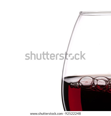 Red Wine Glass silhouette with Bubbles on White Background - stock photo