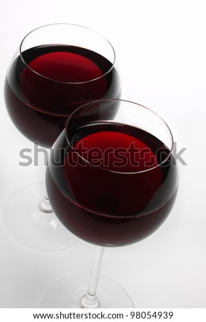 Red wine, 2 glasses - stock photo