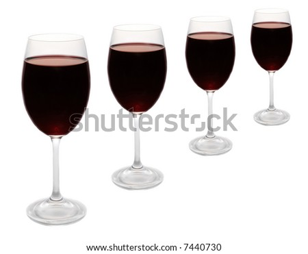 red wine glasses in a row