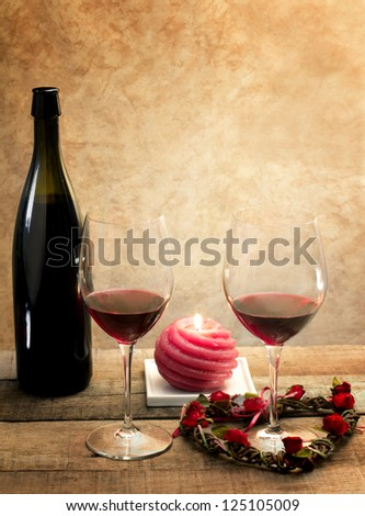 red wine glasses in romantic atmosphere
