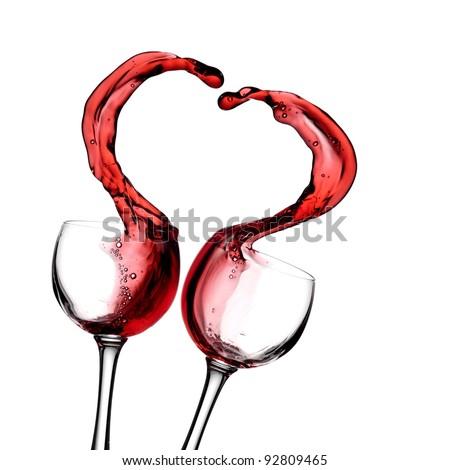 Red wine heart - stock photo
