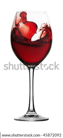 Red wine in a glass glass on a white background - stock photo