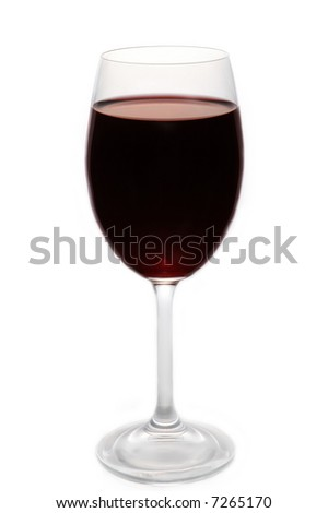 Red wine in a glass isolated