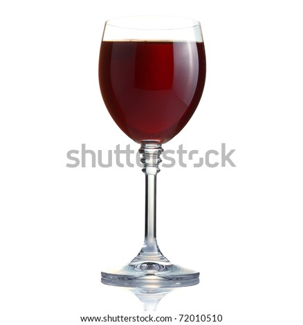 red wine in a glass isolated on thite background - stock photo