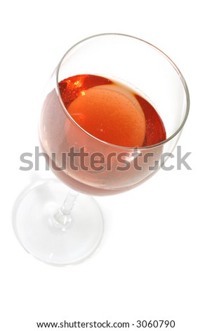 red wine in a glass isolated on white