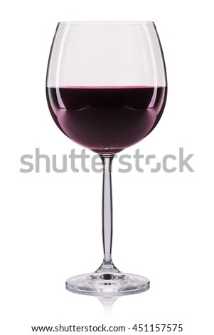 Red wine in a glass isolated on white background. - stock photo