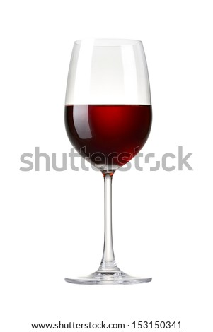 Red wine in a glass isolated on white background - realistic photo image - with clip path - stock photo