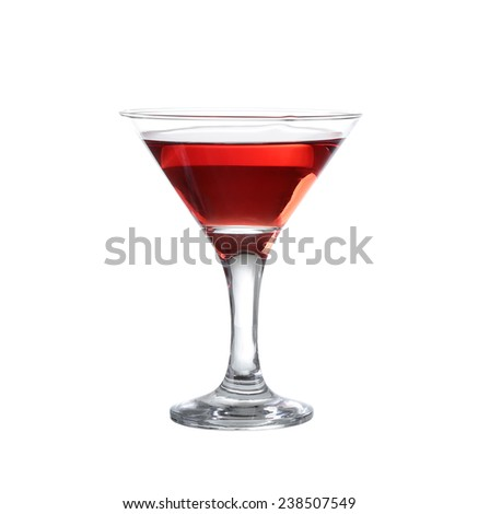 red wine in a glass of martini on the isolate - stock photo