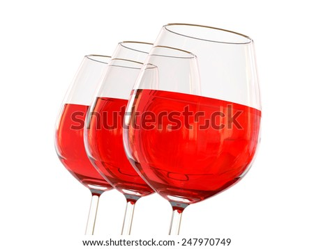 Red wine in a glass on white background - stock photo