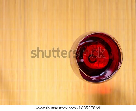 Red Wine In A Wine Glass. The Top View - stock photo