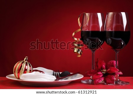 Red wine in christmas setting - stock photo