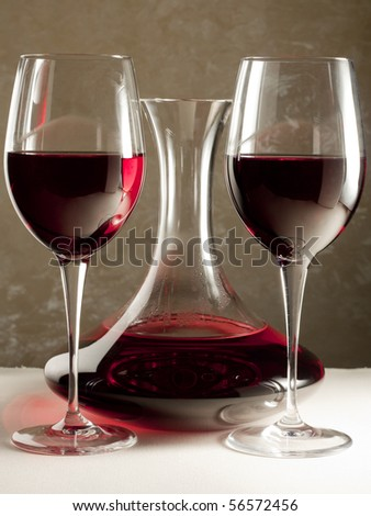 Red Wine in Decanter and Two Glasses