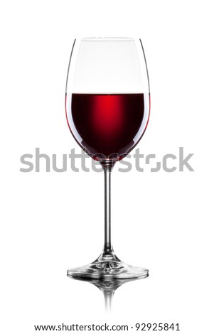 Red wine in glass isolated on white - stock photo