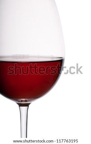 Red wine in glass. Isolated on white background - stock photo
