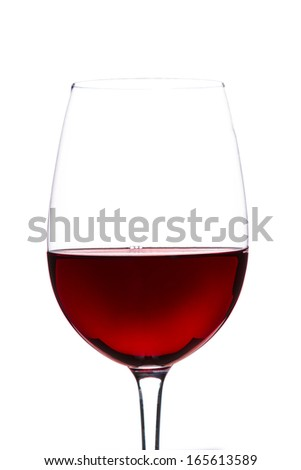 Red Wine in glass on white background - stock photo